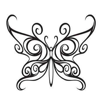 Black line drawing of a butterfly in swirly design; temporary tattoo.
