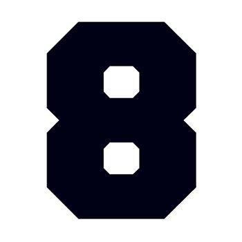 Bold black numeral eight; temporary tattoo.