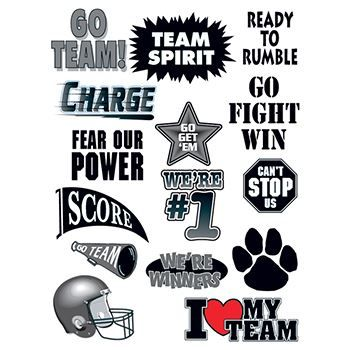 Sheet of 17 black images for rooting on a football team; temporary tattoos.