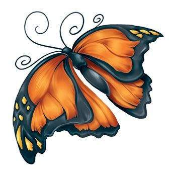 Orange and black floppy winged butterfly temporary tattoo.