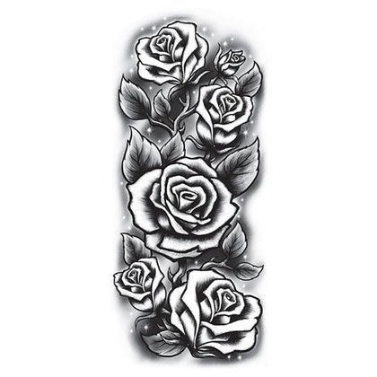 Five black and white roses arranged vertically; temporary tattoo.