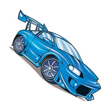 Blue fast car with rear wing and front spoiler in Porsche style; temporary tattoo.