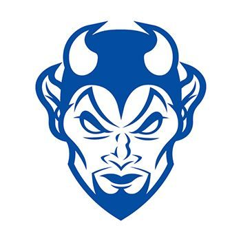 Evil looking blue devil with horns; temporary tattoo.