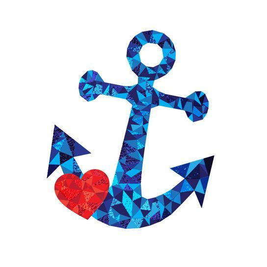 Abstract anchor image made of light and dark blue polygons with a red heart; temporary tattoo.