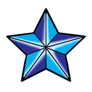 Five pointed blue nautical star with lines radiating out from center; temporary tattoo.