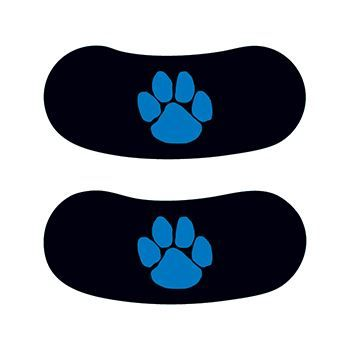 Two eye blacks each with a blue paw print in the center; temporary tattoo.