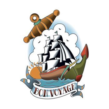 A busy American traditional style tattoo with a ship, clouds, anchor, and a banner that says Bon Voyage; temporary tattoo.
