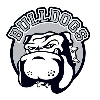"Black and white bulldog with text ""BULLDOGS"" arched over; temporary tattoo."