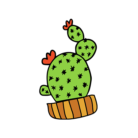 Small potted cactus with flowers; temporary tattoo.