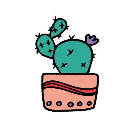 Prickly pear cactus with a purple flower in a pot; temporary tattoo.