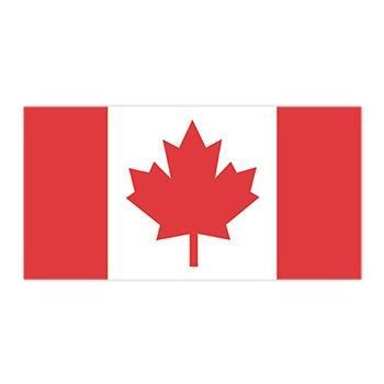 Canadian Flag with a large red maple leaf on white with red vertical bars on either side; temporary tattoo.