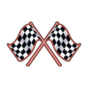 Two checkered flags in an X shape; temporary tattoo.