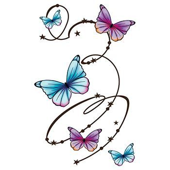 Five blue and purple butterflies with a swirl line pattern giving a flutter fly pattern; temporary tattoo.