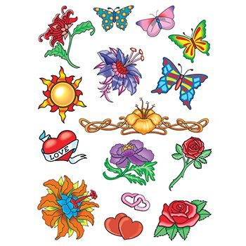 14 summer images; butterflies, roses, hearts, and flowers; temporary tattoos.