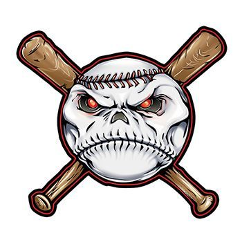 Creepy face in a baseball on top of two baseball bats in an X position; temporary tattoos.