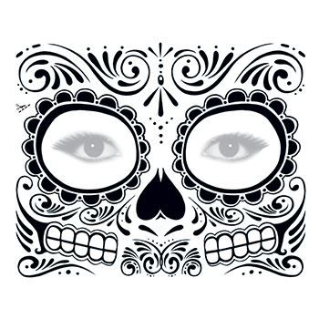 Day Of The Dead Black Skull Face Mask Temporary Tattoo