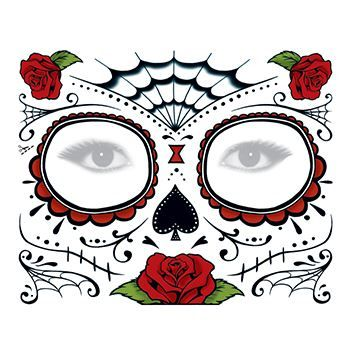 Day Of The Dead Rose Face Mask Temporary Tattoo