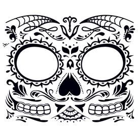 Black day of the dead face mask; temporary tattoo.