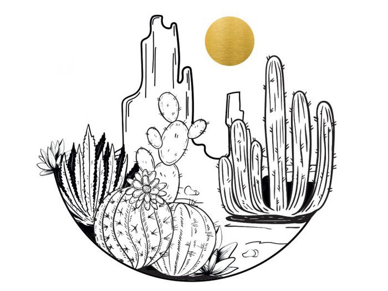 Desert Cactus and Metallic Sun Temporary Tattoo