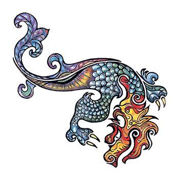 An abstract artsy dragon with colorful scales; temporary tattoo.