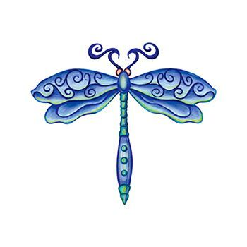 Blue artsy dragonfly with swirl style; temporary tattoo.