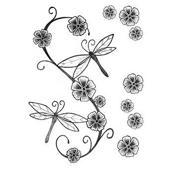 d6c6250c77ccf Dragonfly and Flowers Temporary Tattoo – Pickatat