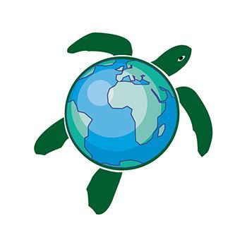 A turtle with the shell as the Earth; temporary tattoo.