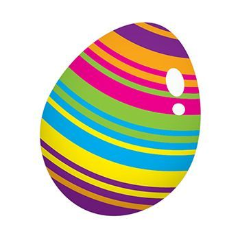 Egg with very colorful stripes; temporary tattoo.