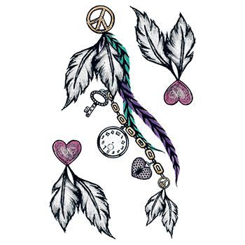 Abstract feathers with hearts, clocks, a key, and peace symbol attached; temporary tattoo.