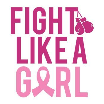 "Pink text ""FIGHT LIKE A GIRL"" with boxing gloves dangling from the ""T""; temporary tattoo."