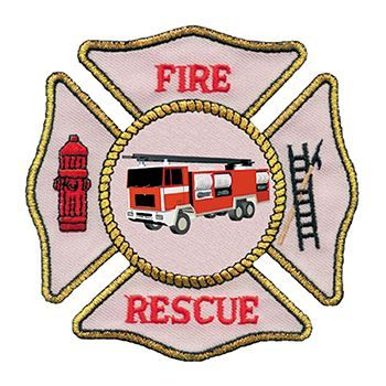Fire Rescue patch with fire truck, fire hydrant, and a ladder; temporary tattoo.