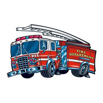 Child illustration of fire truck with a ladder on top; temporary tattoo.