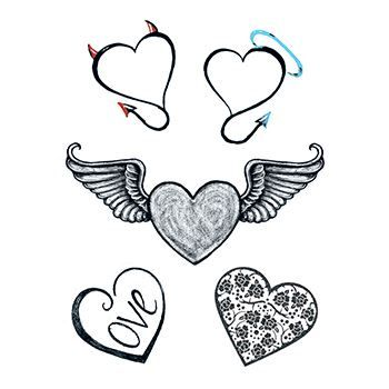 Five black and white hearts with sexy designs; temporary tattoos.