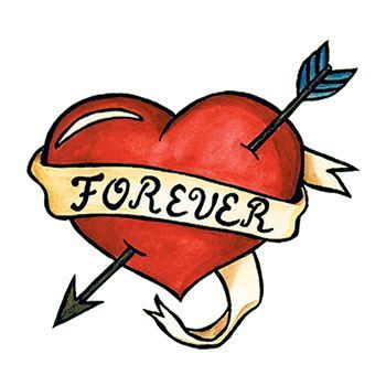 "Red heart tattoo with arrow through it and a ribbon wrapped around with text ""FOREVER""; temporary tattoo."