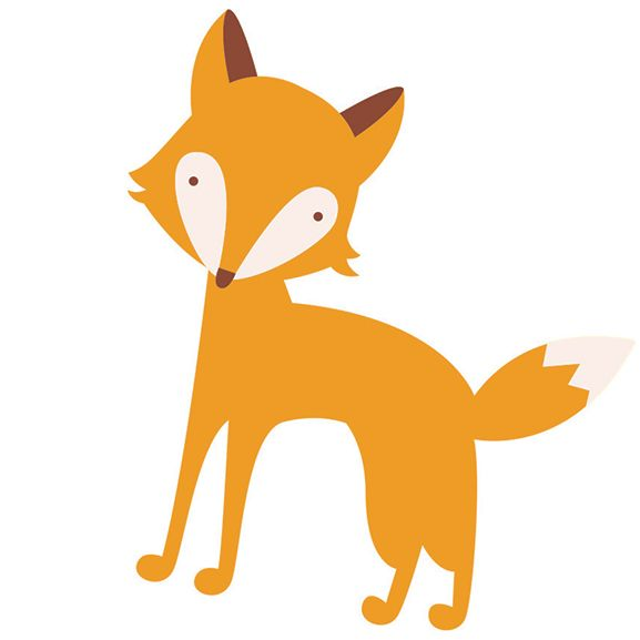 Simple illustrated red fox; temporary tattoo.