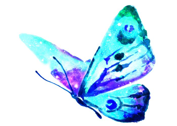Dreamy butterfly design with wings that look like a galaxy; temporary tattoo.