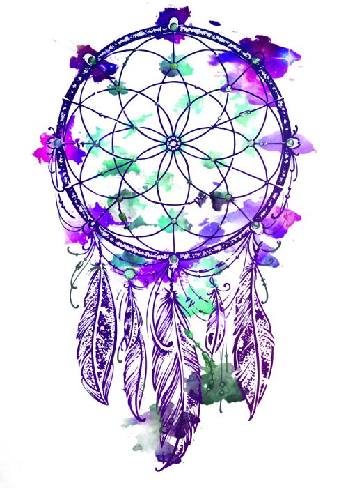 Purple, teal, and blue dream catcher with hanging feathers; temporary tattoo.
