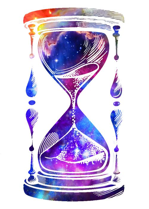 Hourglass with overlay of a picture of a galaxy; temporary tattoo.