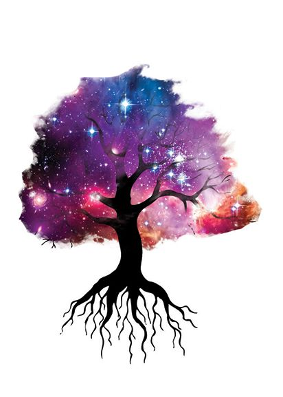 Silhouette of tree and roots with galaxy picture overlayed for leaves; temporary tattoo.