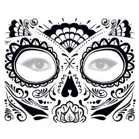 Glitter Day Of The Dead Face Mask Temporary Tattoo