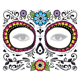 Glitter Day Of The Dead Floral Face Mask Temporary Tattoo