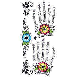 Set of Day of the Dead design hand temporary tattoos.