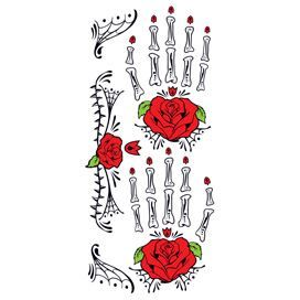 41400af1e796f Day of the dead hand tattoos with red roses; temporary tattoos.