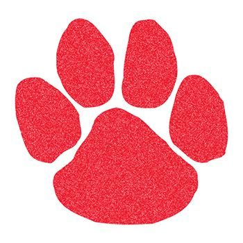 Red glitter coated paw print; temporary tattoo.