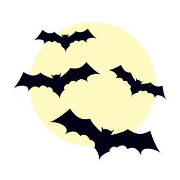 Creepy moon with four flying black bats; temporary tattoo.