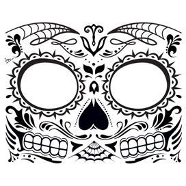 Glow In The Dark Day Of The Dead Skeleton Face Mask Temporary Tattoo