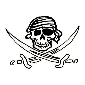 Skull wearing a pirate bandanna with two crossed swords; temporary tattoo.