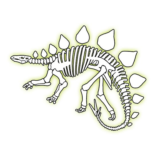 Glow In The Dark Stegosaurus Temporary Tattoo