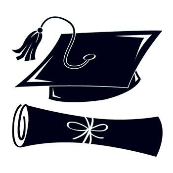 A black graduation cap over a black rolled diploma; temporary tattoos.