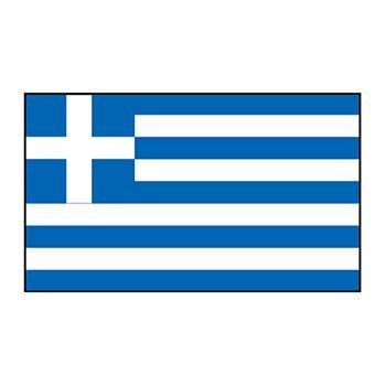 Greece flag which is blue and white horizontal stripes with a blue upper left sixth with a white cross over the blue; temporary tattoo.